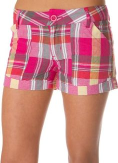 Cuffed Plaid Woven Cotton Shorts ( Multiple Colors & Sizes )