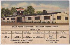"Fort Smith Arkansas Postcard ""Neumeier's Chickuisine"" Restaurant w Menu Linen   eBay"