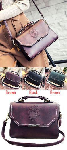Which color do you like? Fashion PU Mini Messenger Bag Leisure Retro Embossed Badge Shoulder Bag #bag #retro #pu #fashion #messenger #women #shoulder