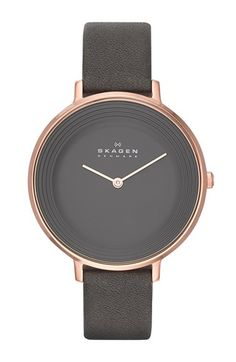 Women's Wrist Watches - Skagen Womens Ditte Grey Leather Watch * Details can be found by clicking on the image. Skagen Watches, Women's Watches, Analog Watches, Wrist Watches, Jewelry Accessories, Fashion Accessories, Watch Accessories, Grey Watch, Bracelet Cuir