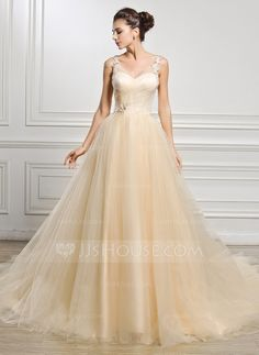 Ball-Gown V-neck Cathedral Train Tulle Wedding Dress With Ruffle Beading Appliques Lace Sequins (002056988)