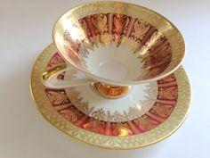 Breathtaking Bavarian Bone China Teacup and Saucer, Tea Cup and Saucer, Tea Set, Housewarming Gift, Bavarian Teacups, VogueTeam