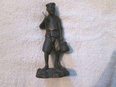 "RARE Annam French Indochina Bronze Statue ""Fisherman"" Asian Man Fishing #FrenchIndochina"