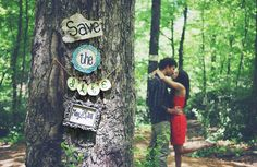 Sweeten up a woodsy shoot by hanging save the date signs on a tree. Photo by W + E Photographie via Ruffled