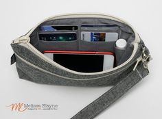 Large  Wristlet Wallet Cell Phone Clutch with by MelissaElayne