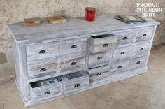 meuble semainier chiffonnier grainetier bois 15 tiroirs ceruse blanc gris 170x35x92cm en vente. Black Bedroom Furniture Sets. Home Design Ideas