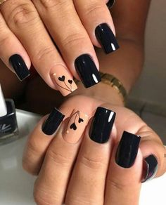 54 Elegant Black Nail Art Designs and Ideas . 54 Elegant black nail art designs and ideas / A Heart Nail Designs, Black Nail Designs, Acrylic Nail Designs, Nail Art Designs, Nails Design, Acrylic Art, Black Nail Art, Black Nails, Red Nails