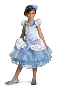 Disney Princess Prestige Cinderella Tutu - This officially licensed Disney Cinderella dress is sure to amaze your little one. The little dress is a gorgeous satin with a zippered up back. White puffy sleeves and a puffy white over skirt makes this Cinderella costume recognizable. There's a Cinderella brooch on the front and pearly beaded trim down the front surrounded by a white ruffle trim along the edges and around the collar. #princess #calgary #yyc #costume #girls