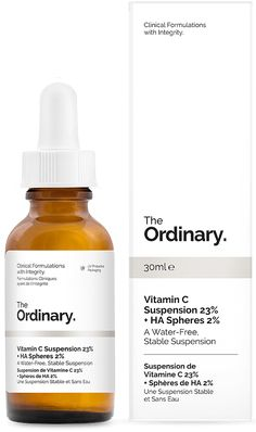 Vitamin C Suspension 23% + HA Spheres 2% - 30ml - Vitamin C is an effective antioxidant and its pure form of L-Ascorbic Acid has been shown to reverse multiple signs of skin ageing while brightening the skin when applied topically. This water-free, silicone-free formula provides 23% pure L-Ascorbic Acid which remains completely stable due to the absence of water. The system is supported with addition of dehydrated spheres of Hyaluronic Acid to offer visible surface smoothing alongside the