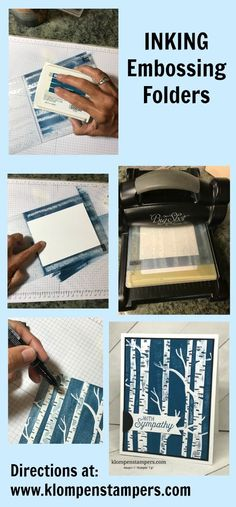Video: Inking Embossing Folders Ink your embossing folders for a fun different look. Quick & easy card--but a little messy!Ink your embossing folders for a fun different look. Quick & easy card--but a little messy! Card Making Tips, Card Making Tutorials, Card Making Techniques, Stampin Up Anleitung, Embossing Techniques, Rubber Stamping Techniques, Embossed Cards, Stamping Up Cards, Card Sketches
