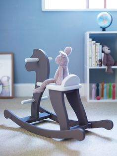 grey and white rocking horse