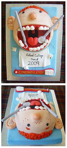 Cute for anyone who works at a dentist office. Oxford dentist cake by Mrs. Cakerific, via Flickr
