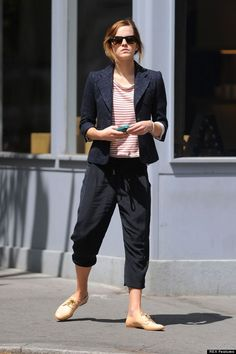 Emma Watson: blazer + hair up + slouch pants + Oxford shoes
