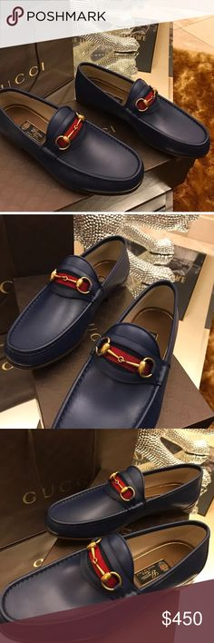 Men's Authentic Royal Blue Gucci Loafers. US 11. AUTHENTIC Gucci loafers, with blue and red band. Blue with gold horsebit. Purchased from the Gucci Store in Miami. I have a receipt.    New Gucci Leather Horsebit Loafers. Royal blue.  Org. $650 Size 11 US / 10 Gucci size. - Leather loafers with signature horsebit detail.  - Leather upper - Leather lining - Leather sole - Made in Italy  100% Authentic guaranteed Gucci Shoes Loafers & Slip-Ons