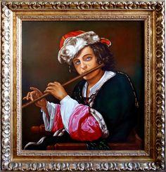 Chłopiec grający na flecie,  54cm x 50cm,  Obraz olejny na płótnie
