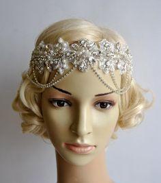 Glamour Rhinestone flapper Gatsby Headband Chain 1920s