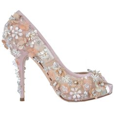 DOLCE & GABBANA Embroidery Pumps Shoes Heels Pink Pompes Chaussures Rose 03325 #DolceGabbana #OpenToe #Casual