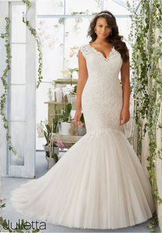 Plus Size Wedding Dress 3192 Embroidered Appliqu  s Decorate the Tulle Mermaid Gown Over Soft Satin