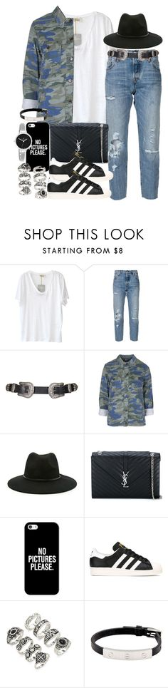 """""""Sin título #3659"""" by hellomissapple on Polyvore featuring moda, American Vintage, Levi's, Topshop, Forever 21, Yves Saint Laurent, Casetify, adidas, Cartier y Christian Van Sant"""