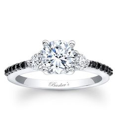 Barkev's 14K White Gold Three Stone Diamond Engagement Ring Featuring 0.42 Carats Round Cut Black and White Diamonds in the Shank Style 7539LBKW