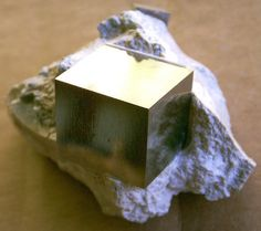 """""""Nature Perfect"""" / prized specimen of Pyrite in a cubic crystal form on limestone matrix"""