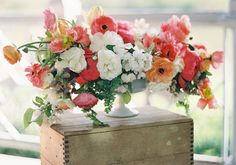 Spring wedding inspiration  photo by Jen Huang   100 Layer Cake   colorful wedding florals   rustic decor   bright wedding decor and inspiration   poppies and posies