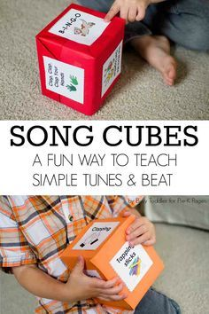 Music with Kids Song Cubes and Finding the Beat A super fun way to learn rhythm beat and simple tunes for toddlers preschoolers prek and kindergarten kids at home or scho. Learning Activities, Kids Learning, Music Activities For Kids, Circle Time Ideas For Preschool, Circle Time Activities, Preschool Ideas, Activities For 2 Year Olds At Nursery, Songs For Preschoolers, Toddler Circle Time