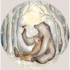 Kinderbehang beren en roodborstje