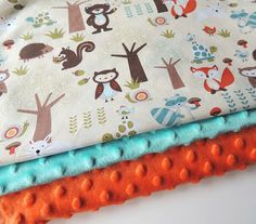 Baby Blanket  READY TO SHIP-Aqua Forest by charlottechicstore