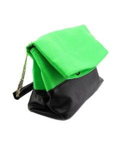 Green and Black Folded Bag with Chain and Leather Strap
