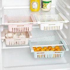 Buy Adjustable Slide Kitchen Fridge Freezer Space Saving Organizer Storage Rack Shelf Drawer Hold at Wish - Shopping Made Fun Rack Shelf, Storage Shelves, Storage Baskets, Drawer Storage, Fridge Drawers, Refrigerator Storage, Kitchen Refrigerator, Kitchen Organization, Kitchen Storage