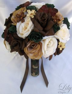 "17pcs Wedding Bridal Bouquet Silk Flower Camo Camouflage Bride IVORY BROWN CREAM ""Lily Of Angeles"". $199.99, via Etsy."
