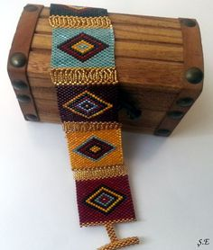 Beaded bracelet - Beadwork - Colorful -Rectangle. $42.00, via Etsy.