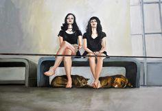 Priscilla de Paula  As meninas (2016) Oleo s tela 140 x 170 cm Contemporary Paintings, Artwork, Tela, Toddler Girls, Pintura, Art, Work Of Art, Auguste Rodin Artwork, Artworks