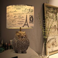 Vintage 1-Light Fabric Drum Shade Table Lamp with Resin OWL Sculpture Base Chic