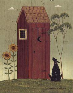 Outhouse+with+Dog+at+FramedArt.com