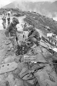 U.S. soldiers of the 101st Airborne Division in the mountains above Hue, Vietnam 1973.