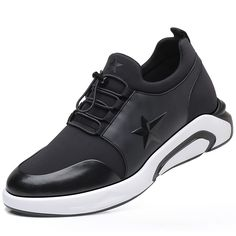 2d4f3e9b Comfortable Men Taller Sneakers White-Black Slip on Elevator Casual Sports  Shoes Altitude 3.2inch / 8cm
