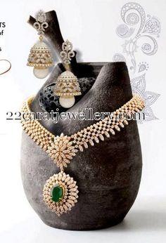 Diamond Necklace and Jhumkas Set - Indian Jewellery Designs Diamond Necklace Simple, Diamond Pendant Necklace, Pendant Jewelry, Gold Jewelry, Bridal Jewelry, Jewelery, Gold Necklaces, Modern Jewelry, Statement Jewelry