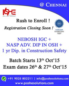 NEBOSH Safety Certificate Course Training in Chennai,Bangalore, Cochin, Vizag, Nebosh IGC Course Training in Chennai