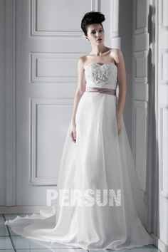 Unique A-line Sweetheart Sash Appliques Organza Floor-length Outdoor Wedding Gown - Red Wedding Dresses- US$ 200.70 - PERSUNMALL - PersunMall.com