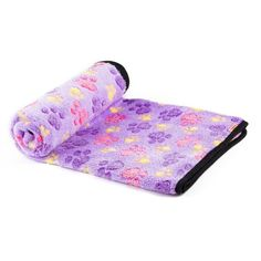 iNNEXT Cute Soft Warm Pet Bed Mat Cover Puppy Blanket Pet Cushion Paw Print Beds Mats (104*76CM, Light Purple)