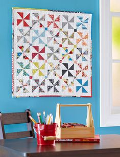 Celebrate summer with a wall quilt that combines traditional Pinwheel blocks and 25 colorful prints. Strip Quilts, Easy Quilts, Mini Quilts, Quilt Blocks, Scrappy Quilts, Quilting Tips, Quilting Tutorials, Quilting Projects, Sewing Projects