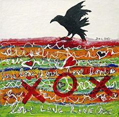 BEAK GRAFFITI XV- Contemporary Abstract Raven Painting