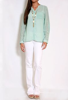 Long Sleeve Button Down Sheer Top w/Pocket