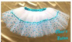 Turquoise and White Tutu with Mini flower Trim - Girls, Birthday, Parties, Photos