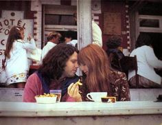 """soundsof71: """"Jim Morrison and Pamela Courson share some fries in Saint-Leu-d'Esserent, June 28 1971, a week before his passing on July 3, by Alain Ronay """""""