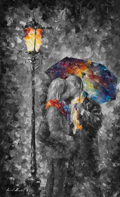 Kiss Wall Art Romantic Prints Giclee On Canvas By Leonid Afremov - Kiss In The Dark City Painting, Oil Painting Abstract, Musik Illustration, Simple Oil Painting, Abstract City, Umbrella Art, Ecole Art, Music Artwork, Meet The Artist
