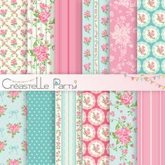 Editable shabby chic collection of printable pdf files for all party decorations: baby shower, birth party, birthday, brunch, christening,