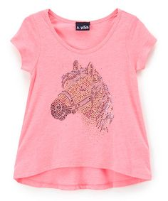 Another great find on #zulily! Pink Sequin Horse Hi-Low Tee - Toddler & Girls #zulilyfinds